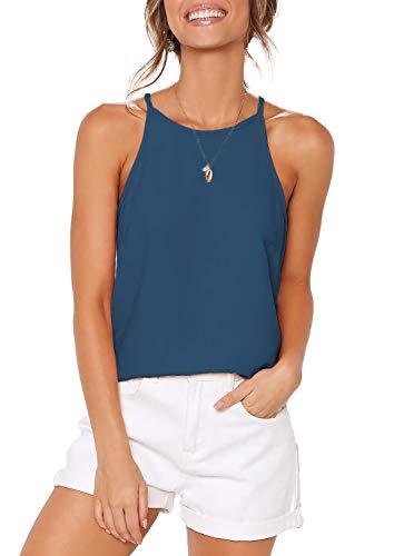 ZJCT Womens Tops Sleeveless Halter Neck Summer Casual Shirts Basic Tee Shirts Halter Cami Top Beach Tank Tops Blue L