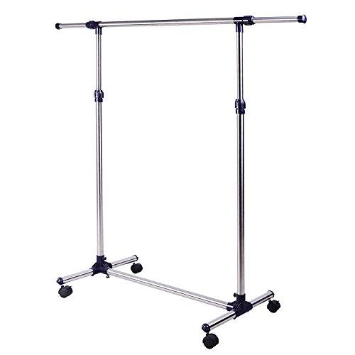 HOMCOM Appendiabiti Stender Porta abiti singolo per vestiti, in acciaio inox su ruote. Larghezza e altezza regolabili