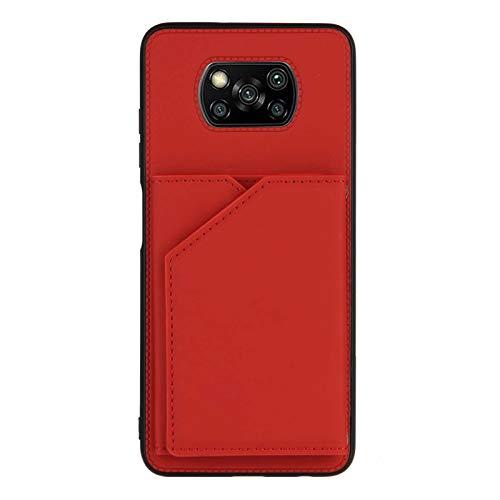 Custodia a portafoglio per Xiaomi Poco X3 NFC (rosso)