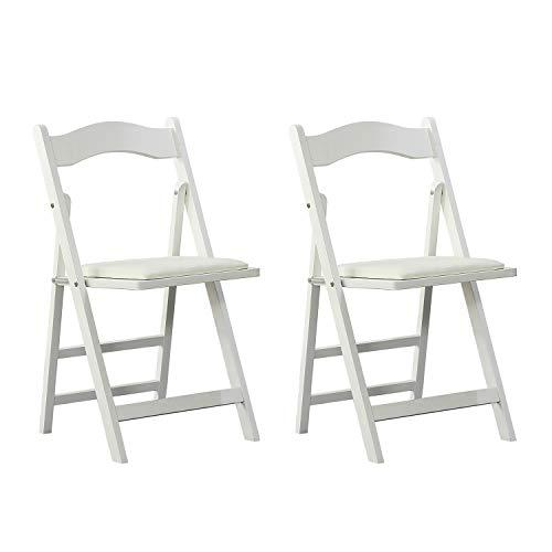 Arcalt Silla plegable de silla de comedor silla de madera para cocina (Blanco-2)