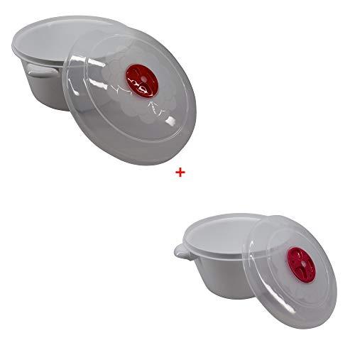 Cocotte magnetronschaal met ventiel geschikt voor vaatwasser en vriezer 3 liter diameter 22 cm plus 1,5 liter diameter 17 in totaal 2 eenheden