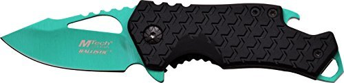MTech USA MT-A882GN Spring Assist Folding Knife, Turquoise Blade, Black Handle, 3-Inch Closed