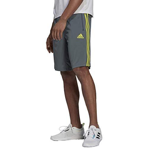 adidas Mens Designed 2 Move 3-Stripes Shorts Blue Oxide/Acid Yellow Small