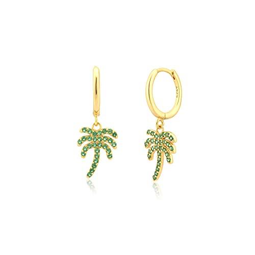 Plata de ley 925 8 5 mm circón verde árbol de coco colgante Piercing gota pendiente fina joyería Clips joyería Clips-oro