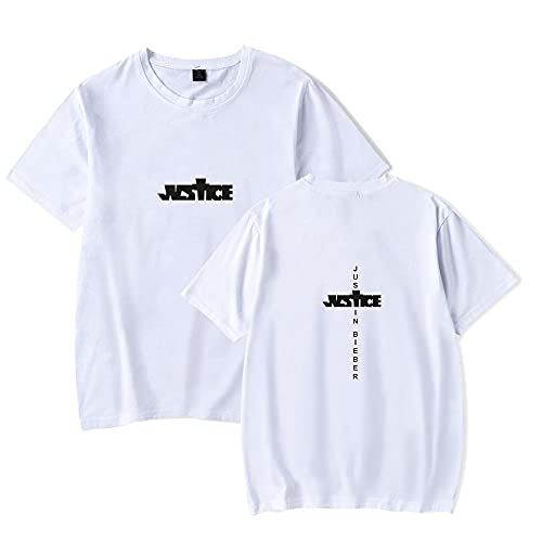 AHDSJDG Unisexo Justin Bieber Camiseta Básica Manga Corta Casual Estampada de Cuello Redondo Música Ropa Deportiva el Verano Camiseta de Algodón Holgada y de Moda Impresión Gris Polvo Blanco y Negro
