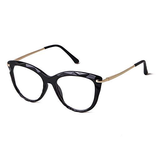 GIFIORE Gafas de ojos de gato para mujer, retro, filtro de luz azul, sin graduación, bloquean la luz azul de PC, TV y teléfono móvil Marco de cristal negro. M