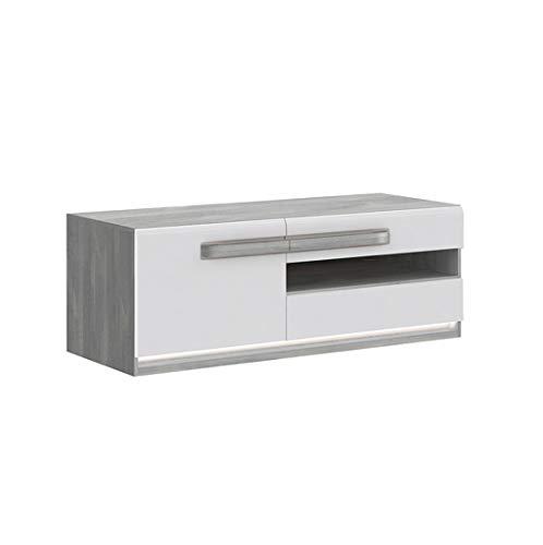 TV meubel wit gelakt en decor eiken met LED-verlichting - modern design - collectie Alexiane Wit en Grijs