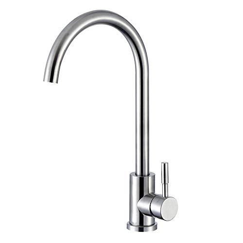 KINSE Einhebel Küchenarmatur Edelstahl | 360° Schwenkbar Spültischarmatur | Hochdruck Wasserhahn für Küche | gebürstet matt