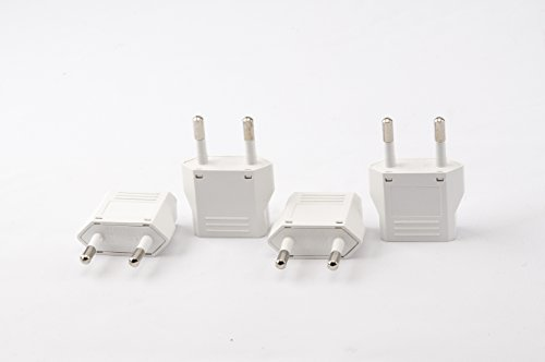 Unidapt European Plug Adapter Power Converter, Travel from USA Us to EU Europe Italy Plug Adapters, European Travel Plug Adapters from America to Europe Outlet Adaptor (4 Piece)
