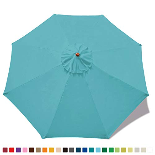 MASTERCANOPY 9ft Patio Umbrella Replacement Canopy Market Table Umbrella Canopy(Turquoise)