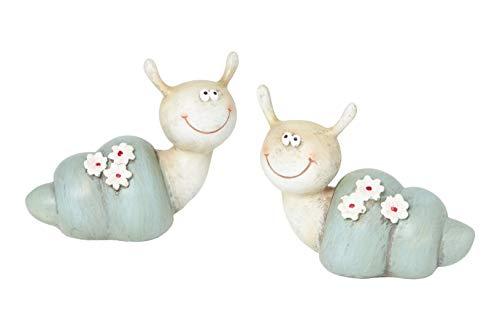 Heitmann Deco Caracoles con flores rosas – Figuras decorativas – Decoración de jardín, salón, decoración de Pascua, primavera, Pascua – Azul – Juego de 2