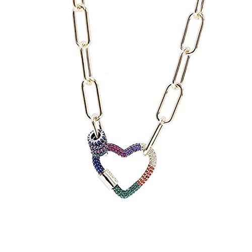 GYAM Collar De Cadena De Suéter De Collar De Amor De Arco Iris De Personalidad De Moda Chapado En Oro Real para Mujer