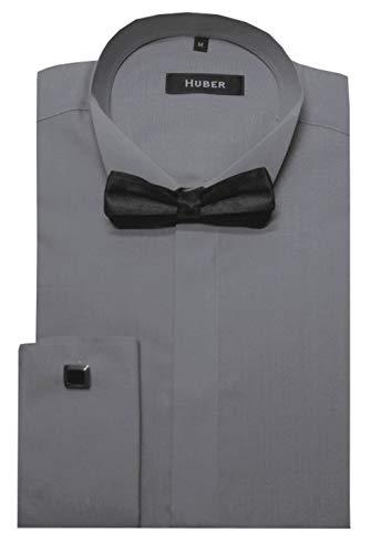HUBER Smokinghemd grau mit Fliege XL