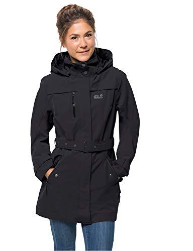 Jack Wolfskin Damen Kimberley Coat Atmungsaktiv Wasserdicht Winddicht Outdoor Funktionsmantel Trenchcoat Mantel, Black, XL