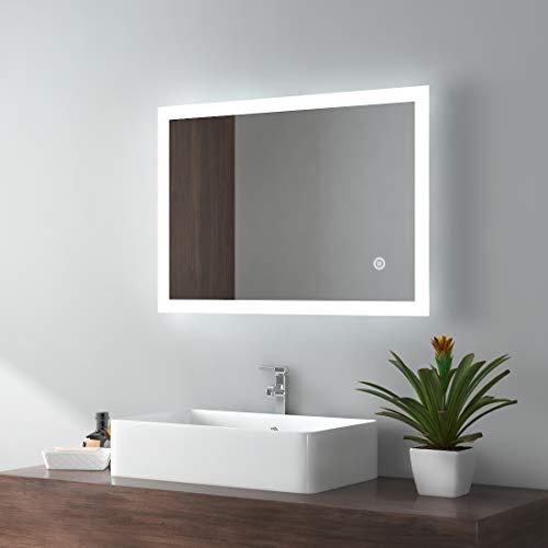 EMKE LED Badspiegel 50x70cm Badezimmerspiegel mit Beleuchtung kaltweiß Lichtspiegel Wandspiegel mit Touchschalter IP44 energiesparend