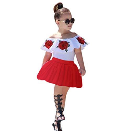 Weant Baby Kleidung Mädchen Outfits Schulterfrei Schulterfrei Tops + Rot Röcke Kleider Prinzessin Partykleid Sommerkleid Prinzessin Kleid Kinder Kleider Baby Bekleidungssets Neugeborenen Bekleidungset