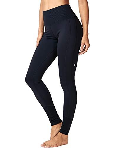 CRZ YOGA Damen Hohe Taille Leggings Elastisches Band Gerippt Sporthose,Lässige Leggings-73cm Schwarz 36