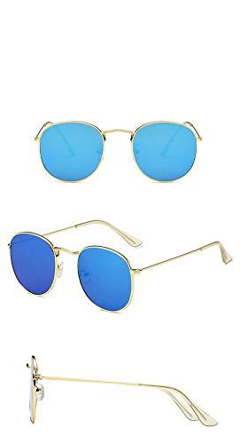 P-WEIAN zonnebril mode retro frame rond kleurrijke folie zonnebril unisex Cadre Doré Bleu Glace