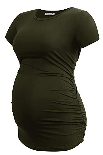 Smallshow Women's Maternity Shirt Tops Side Ruched Pregnancy Clothes Summer Army Green Medium