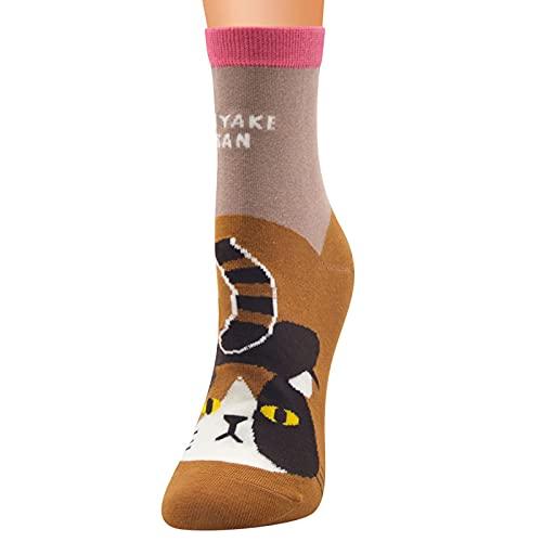 YWLINK Calcetines Mujer Divertidos Originales Animales Lindos Estampados Ocasionales De AlgodóN Calcetines con Estampado NavideñO Calcetines Calientes Calcetines Deportivos Barato (A1, Talla única)
