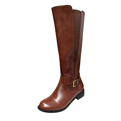 WUSIKY Geschenk für Frauen Stiefeletten Damen Bootsschuhe Boots Fashion Weisecowboy Reitstiefel Retro beiläufige große mittlere Schlauch lädt Schuhe auf (Braun, 39.5 EU)
