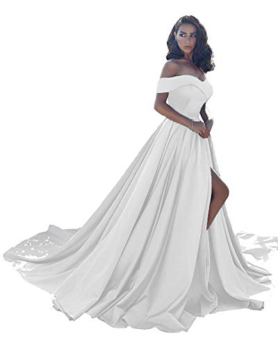 Prom Dresses Long Split Off Shoulder Wedding Evening Dress A line Satin Formal Ball Gown Ivory-18 Size