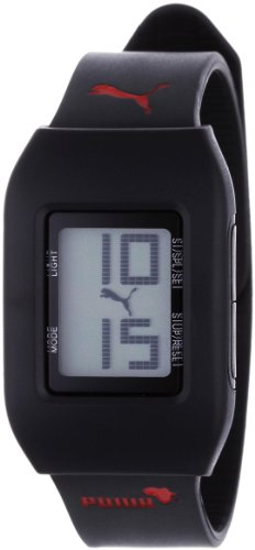 Puma A.PU910751003 - Reloj digital unisex de cuarzo con correa de resina negra (alarma, cronómetro) - sumergible a 50 metros