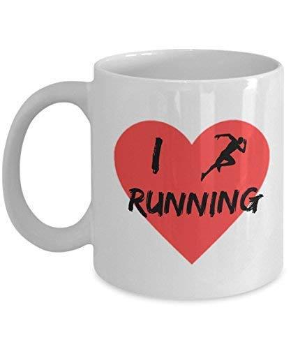 N\A I Love Running Heart Run Taza de café Novedad para Hombres y Mujeres