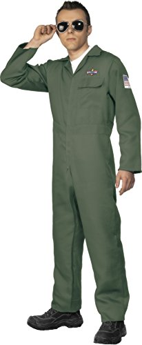 Smiffys, Herren Flieger Kostüm, Jumpsuit, grün, M