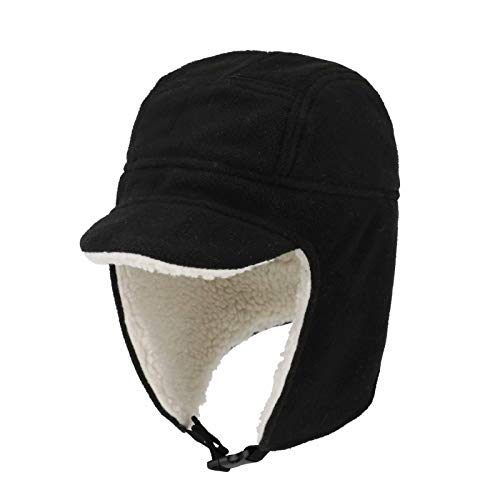 Connectyle Mens Fleece Thermal Skull Cap Warm Winter Beanie with Earflap Outdoor Cycling Sports Hat Black