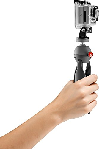 Manfrotto PIXI Xtreme Mini Stativ-Set mit Kopf für GoPro Kameras (MKPIXIEX-BK), Manfrotto schwarz mit GoPro Adapter