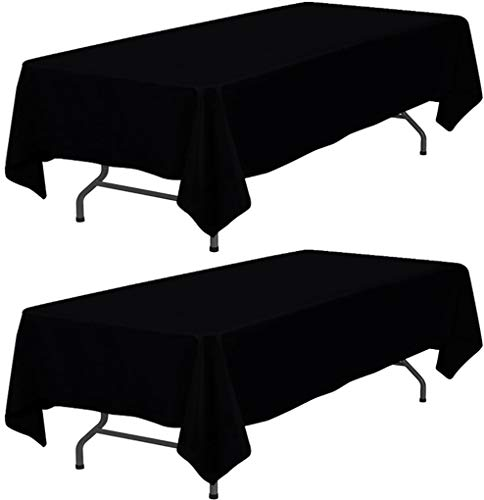 Wealuxe Black Tablecloth 60x102 - Rectangular 6 feet Table Cover, 2 Pack