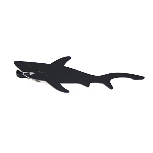 MENDEPOT Novelty Black Shark Tie Clip with Gift Box Jaws Tie Bar (Black)