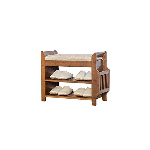 DNSJB Organisateur de chaussures en bois vintage brun-Premium de support de chaussure de 3 rangées, banc de support de stockage avec le coussin de siège mou pour Entryway ( taille : 62*29.5*49.5cm )