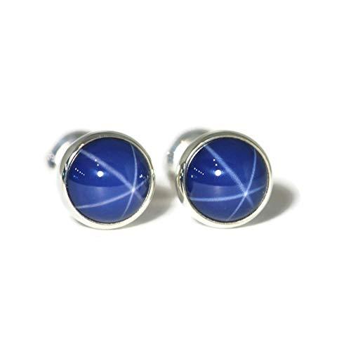 6mm Created Blue Star Sapphire Sterling Silver Stud Earrings