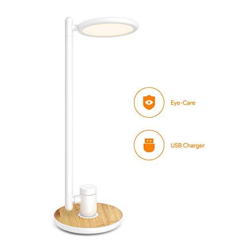 Gladle LED Schreibtischlampe mit USB Anschluss, Stufenlos Dimmbare Tischleuchte, Augenschutz Flexible Leselampe mit Holzmaserung, Touchbedienung, Memory-Funktion, 2700-6500K, Weiß