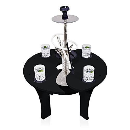 Premium Shisha Tisch | mit Zubehör Untersetzer Set Schieferplatten für Getränke Kohle Deko Werkzeuge | Extra Ablage Loch für Wasserpfeife - Led Licht | für Zuhause Garten To Go Balkon The Hookah Bar