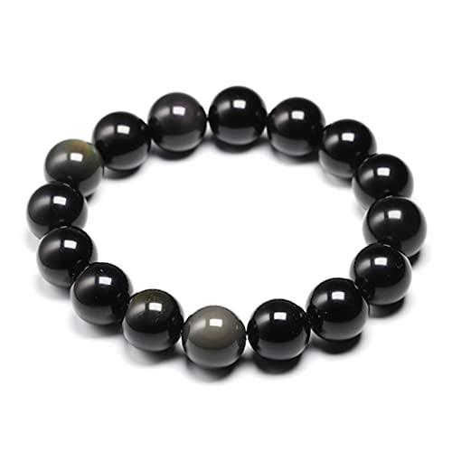 Natural colorido obsidiana pulsera joyería perlas de piedra pulsera redondo brazalete de energía para hombres y mujeres regalo de San Valentín Nuevo diseño Curación de la Piedra Piedra del malvado esp