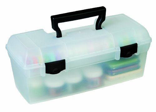 ArtBin Essentials Lift Out Tray with Black Latches and Handle-Clear Art/ Craft Storage Box, 83805