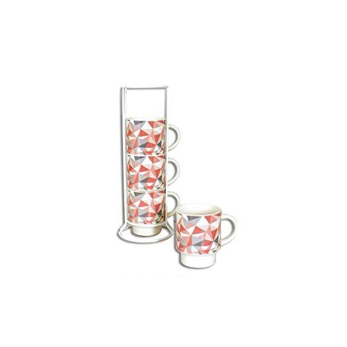 Set de 4 mugs sur colonne Grafik - 200 mL - Céramique - Blanc
