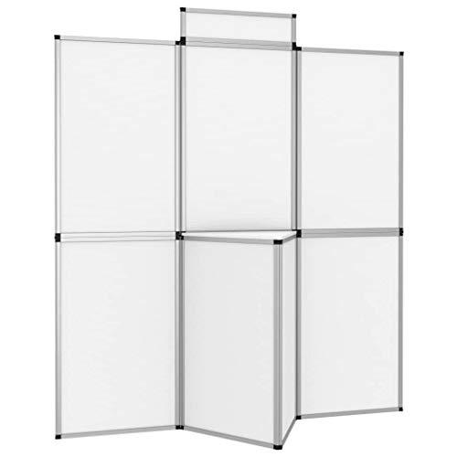 vidaXL 8-Panel Messewand Faltdisplay Stellwand Promotionswand Faltwand Messetafel klappbares Display Raumteiler Messestand mit Tisch 181×200 cm Weiß