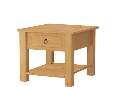 Loft24 Ilona Couchtisch Landhaus Wohnzimmertisch mit Schublade Beistelltisch Sofatisch klein Nachttisch Kiefer Massivholz 50x50 cm (gebeizt geölt)