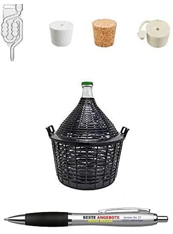 Beste Angebote Globo de vino, 5 L, con cesta, tubos de fermentación y tapón de goma, globo de fermentación