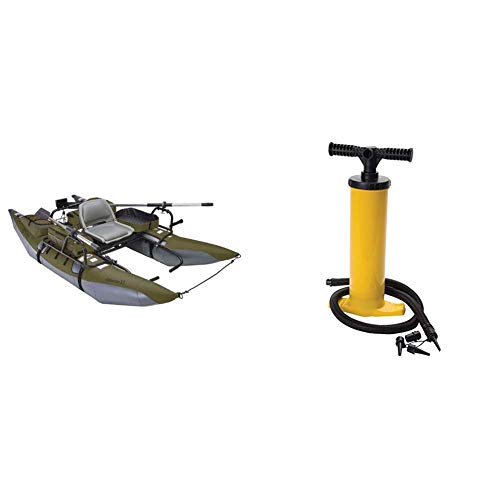 Classic Accessories Colorado XT Inflatable Fishing Pontoon Boat - Sage and Inflatable Boat/Tube Hand Pump