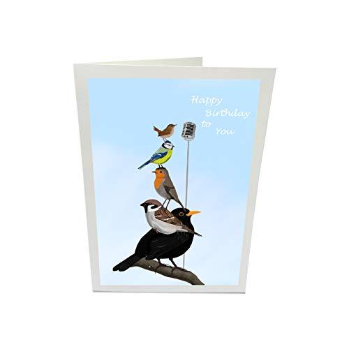 Geburtstagskarte Glückwunschkarte The Backyard Birds Amsel Spatz Rotkehlchen Blaumeise Zaunkönig Vogel Zeichnung Happy Birthday mit Umschlag