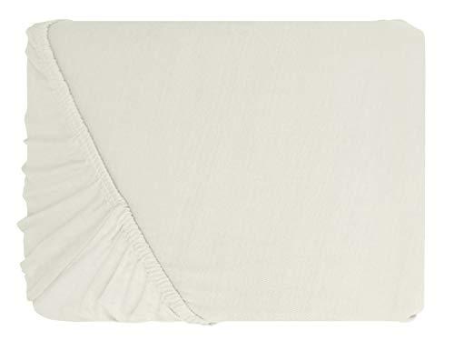 npluseins klassisches Jersey Spannbetttuch – erhältlich in 34 modernen Farben und 6 verschiedenen Größen – 100% Baumwolle, 70 x 140 cm, naturweiß - 2