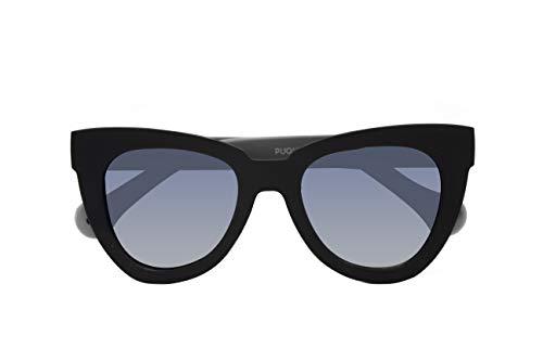 Parafina - Gafas de Sol Polarizadas para Hombre y Mujer - Gafas de Sol Ojos de gato Anti-reflejantes Negras con Efecto Espejo - Lentes Plateadas