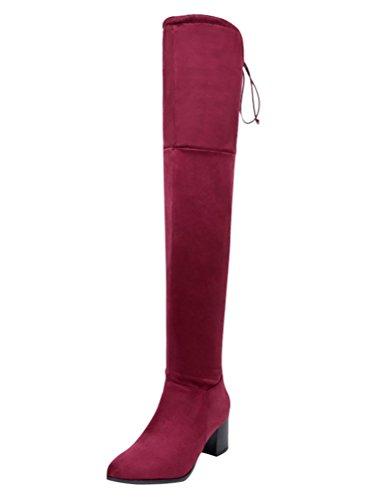 Minetom Damen Overknee Stiefel Blockabsatz High Heels Winter Mode Casual Elegant Lange Boots Lace Up 34-45 A Rot EU 39