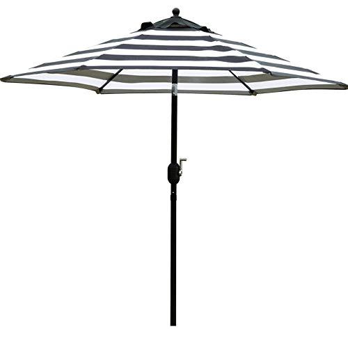 Sunnyglade 7.5' Patio Umbrella Outdoor Table Market Umbrella with Push Button Tilt/Crank, 6 Ribs (Black and White)