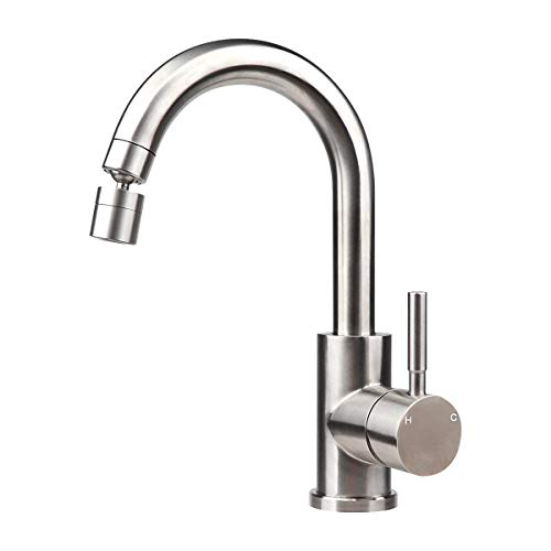 COOLWEST Single Handle Bathroom Sink Faucet Single Hole Stainless Kitchen Faucet with Dual Function Swivel Aerator for Bar Farmhouse Lavatory, Deck Mounted Small Kitchen Faucet Brush Nickel